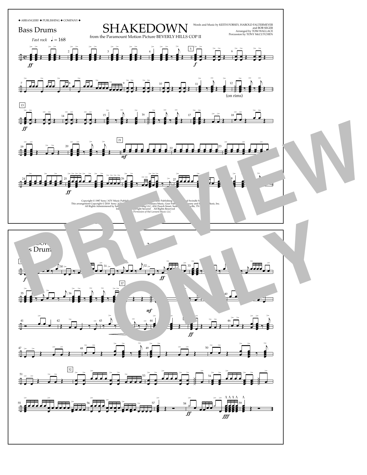 Tom Wallace Shakedown - Bass Drums sheet music notes and chords. Download Printable PDF.