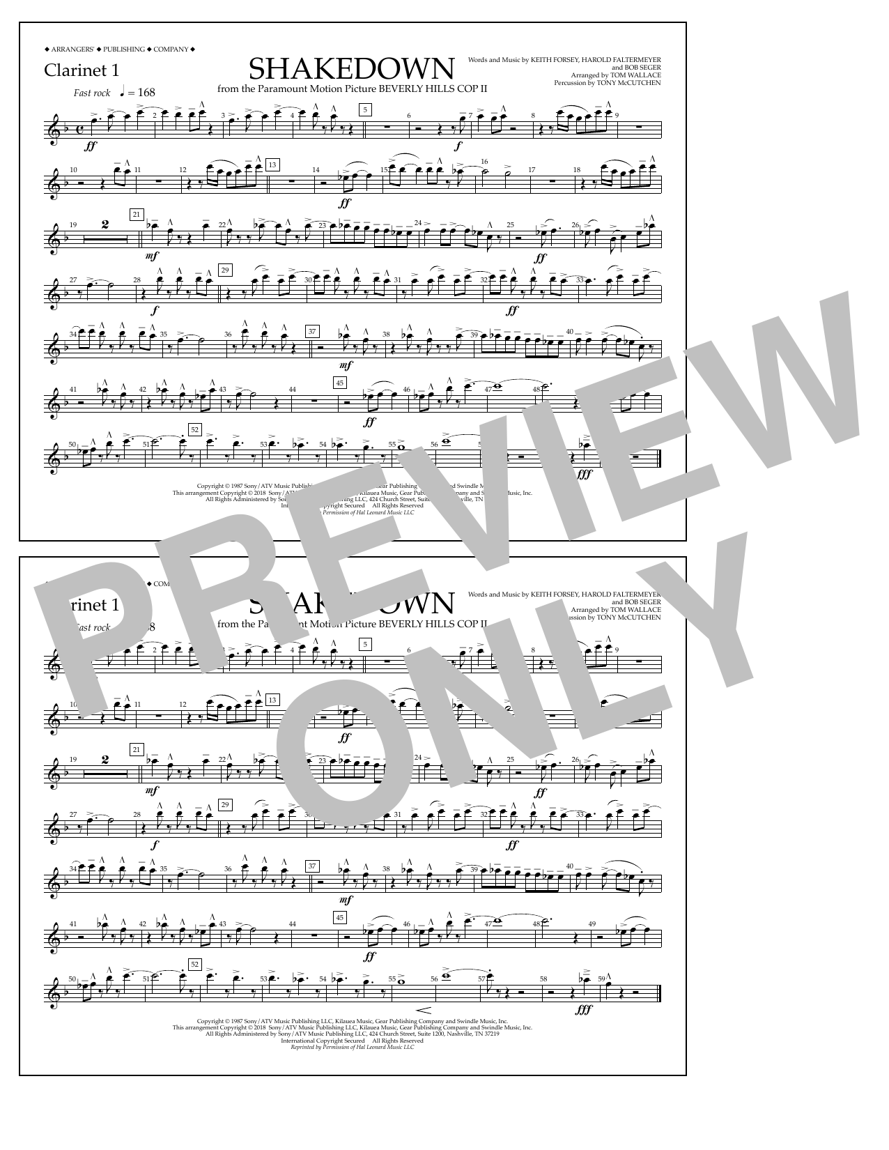 Tom Wallace Shakedown - Clarinet 1 sheet music notes and chords. Download Printable PDF.