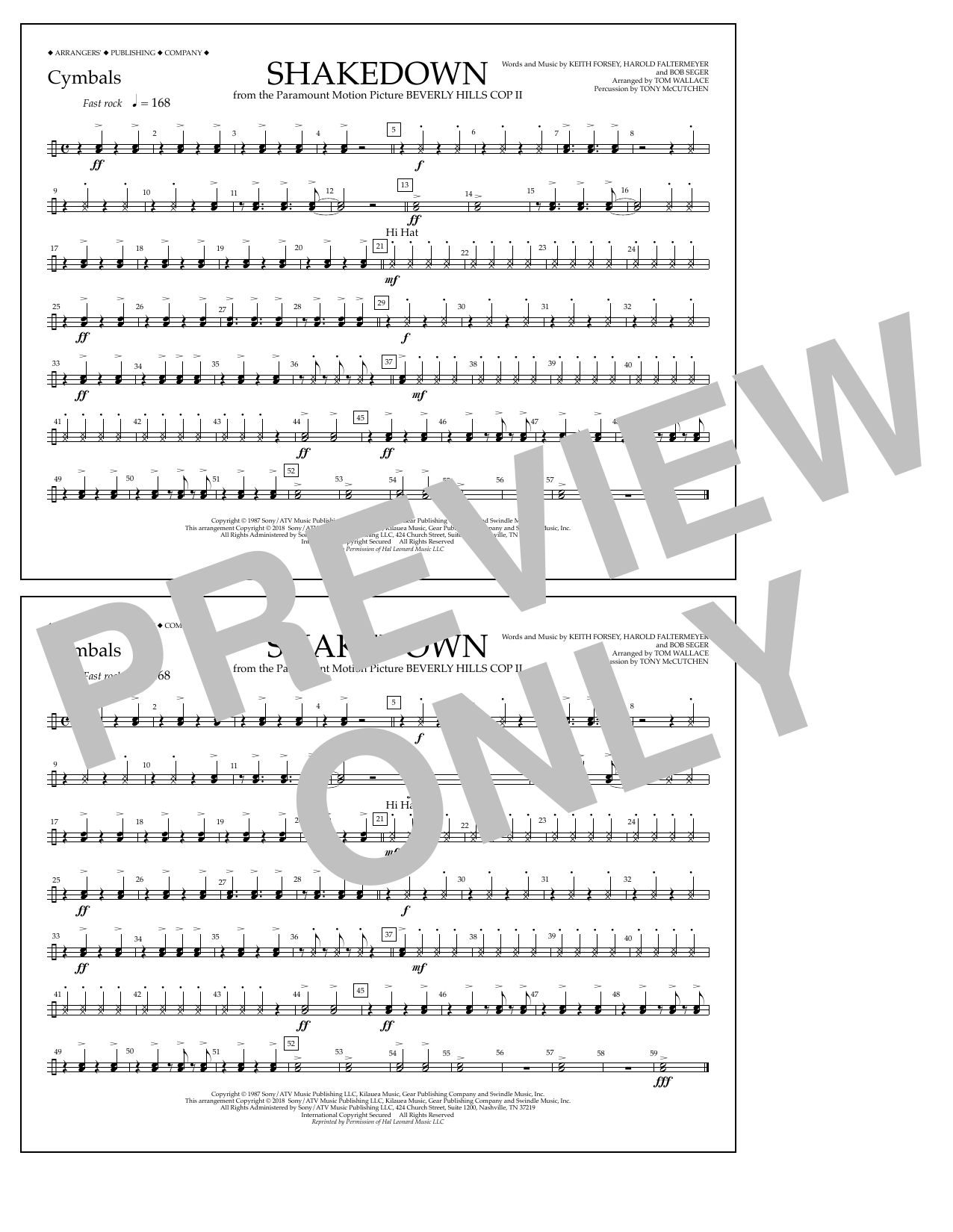 Tom Wallace Shakedown - Cymbals sheet music notes and chords. Download Printable PDF.