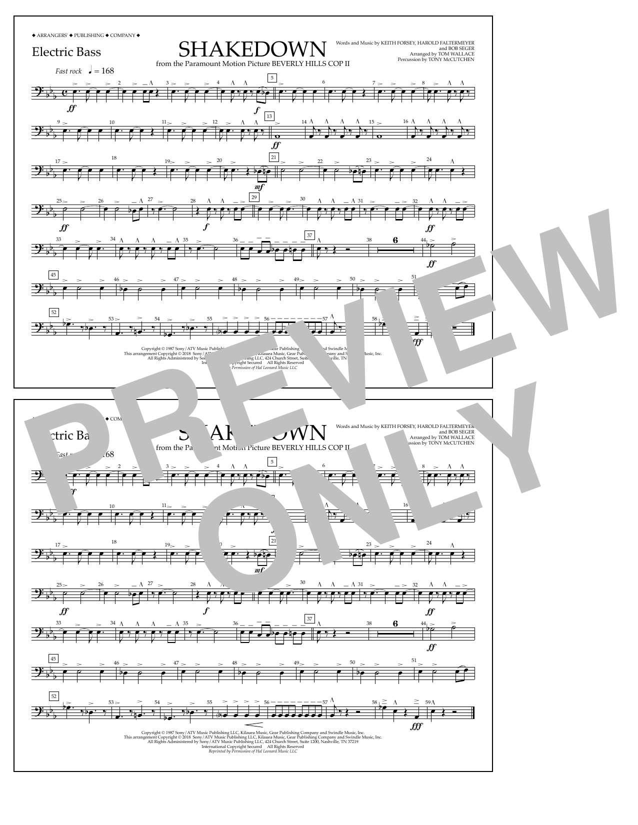 Tom Wallace Shakedown - Electric Bass sheet music notes and chords. Download Printable PDF.