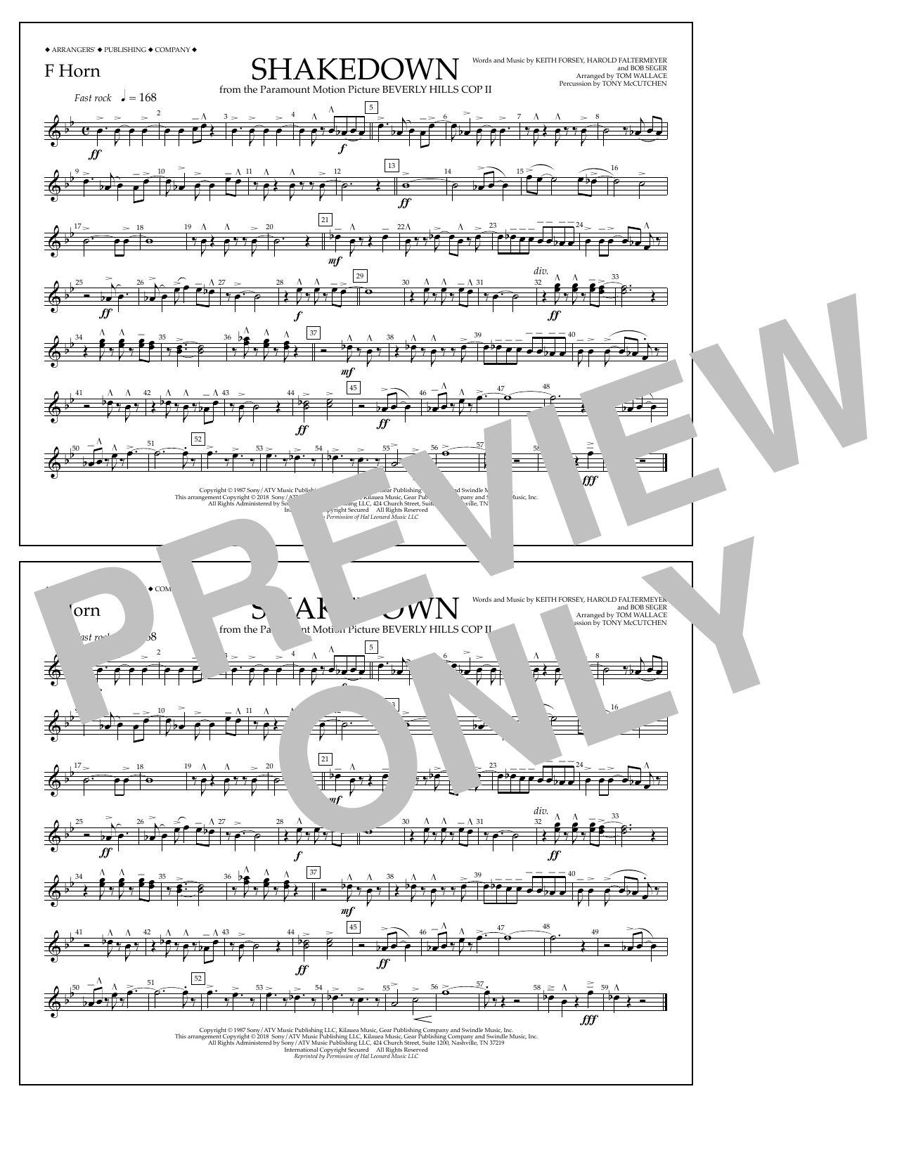 Tom Wallace Shakedown - F Horn sheet music notes and chords. Download Printable PDF.