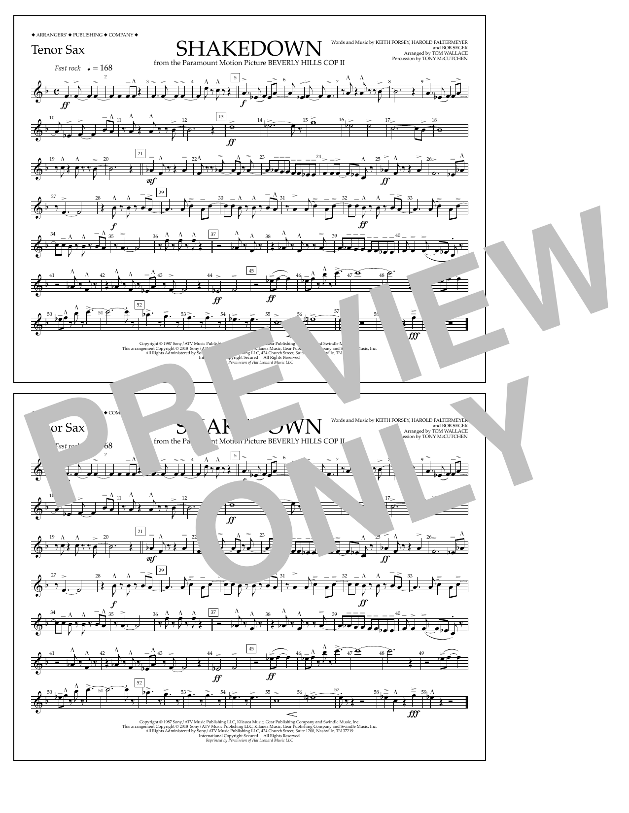 Tom Wallace Shakedown - Tenor Sax sheet music notes and chords. Download Printable PDF.