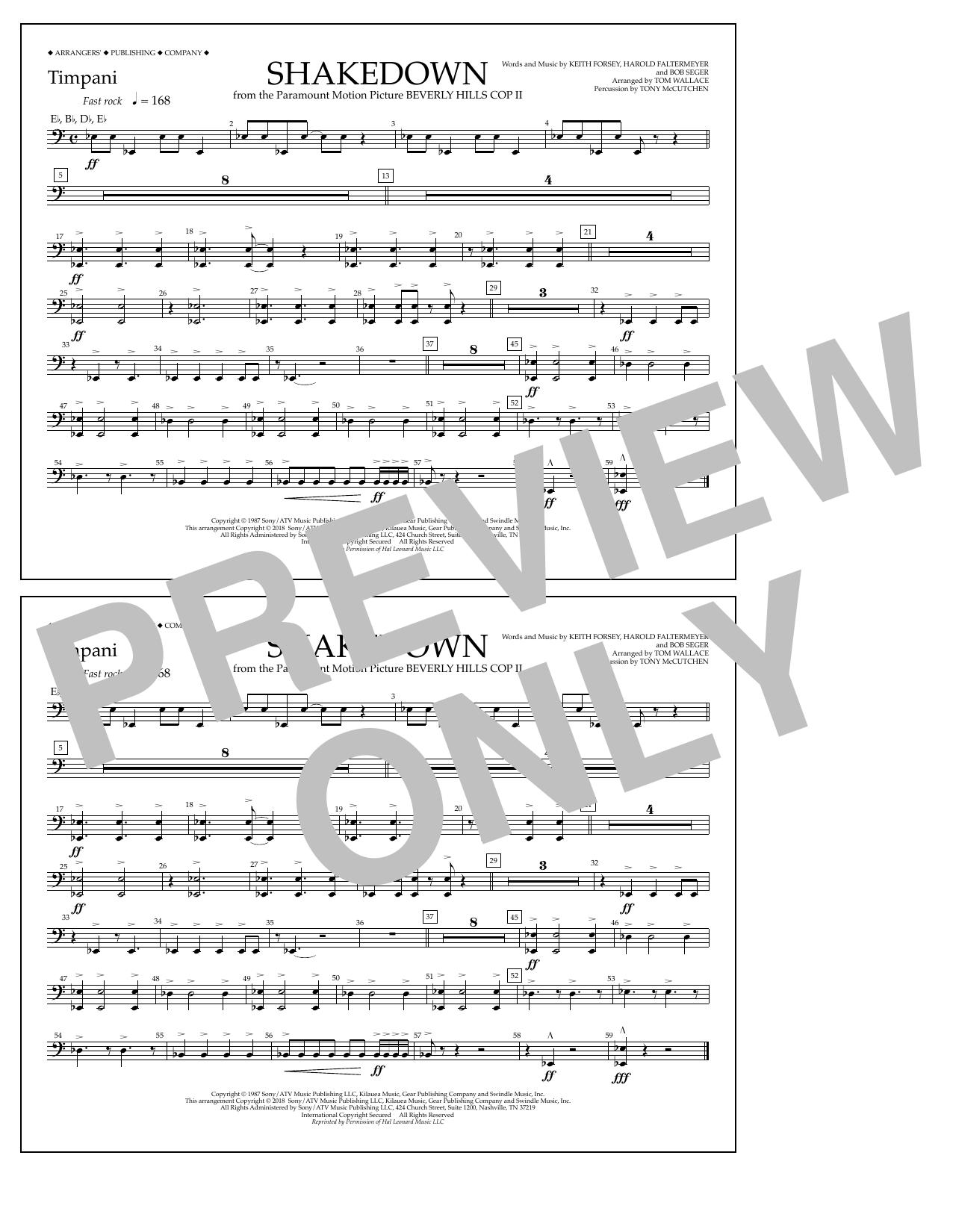 Tom Wallace Shakedown - Timpani sheet music notes and chords. Download Printable PDF.