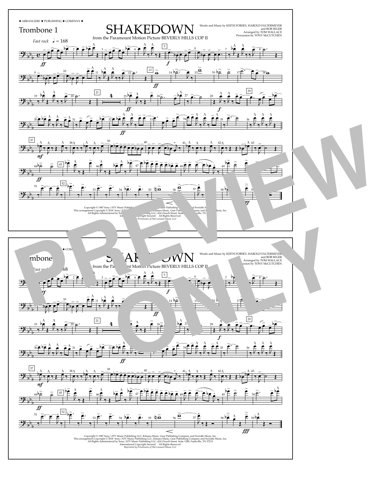 Tom Wallace Shakedown - Trombone 1 sheet music notes and chords. Download Printable PDF.
