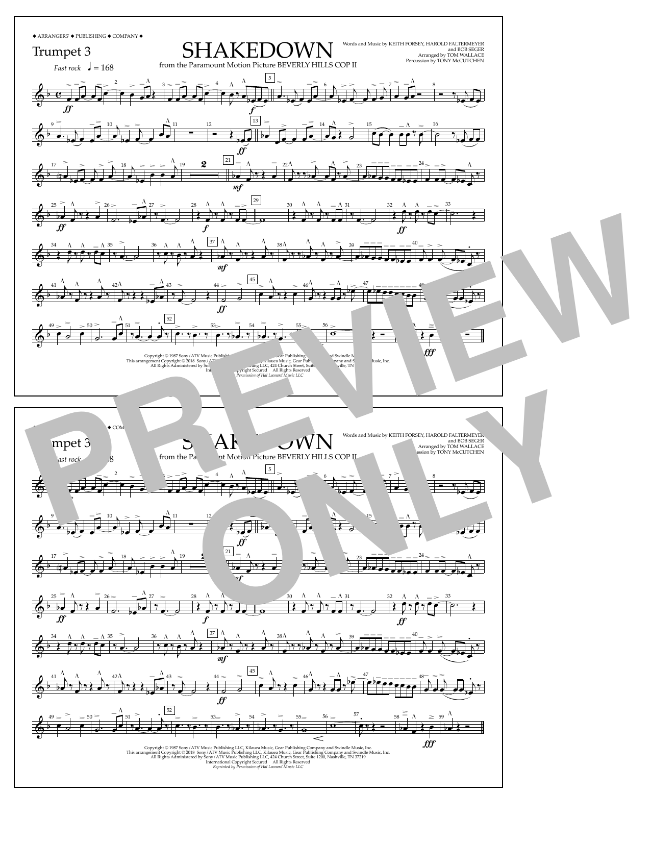 Tom Wallace Shakedown - Trumpet 3 sheet music notes and chords. Download Printable PDF.