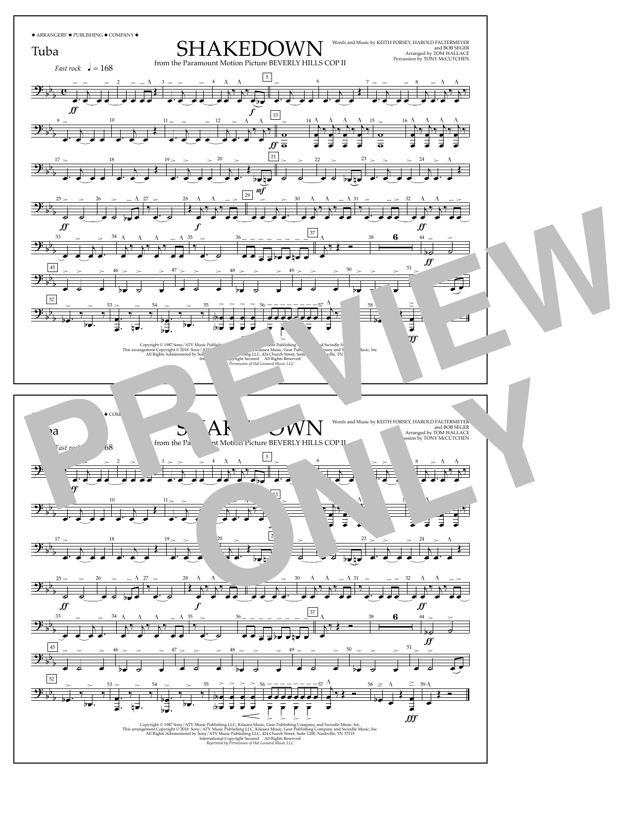 Tom Wallace Shakedown - Tuba sheet music notes and chords. Download Printable PDF.