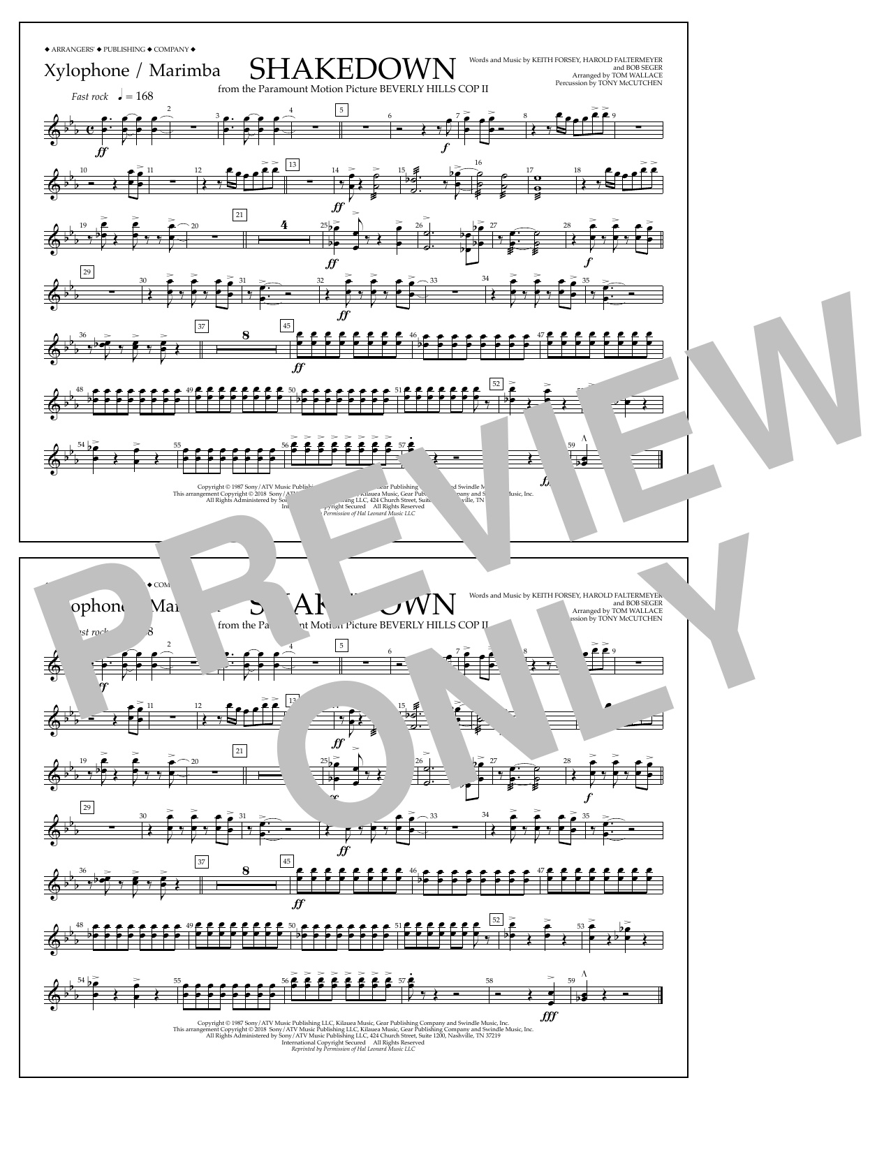 Tom Wallace Shakedown - Xylophone/Marimba sheet music notes and chords. Download Printable PDF.
