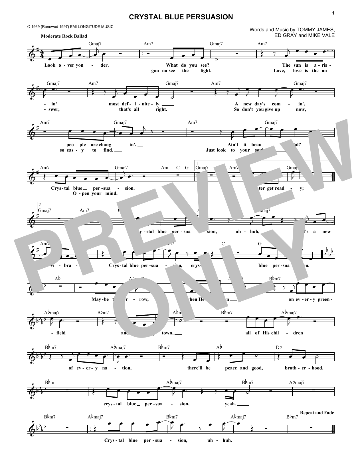 Tommy James & The Shondells Crystal Blue Persuasion sheet music notes and chords. Download Printable PDF.