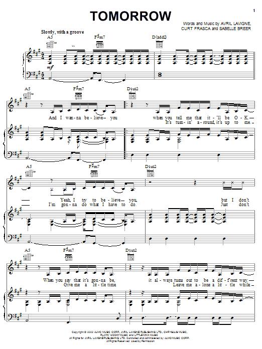 Avril Lavigne Tomorrow sheet music notes printable PDF score