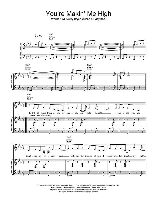 Toni Braxton You're Makin' Me High sheet music notes printable PDF score