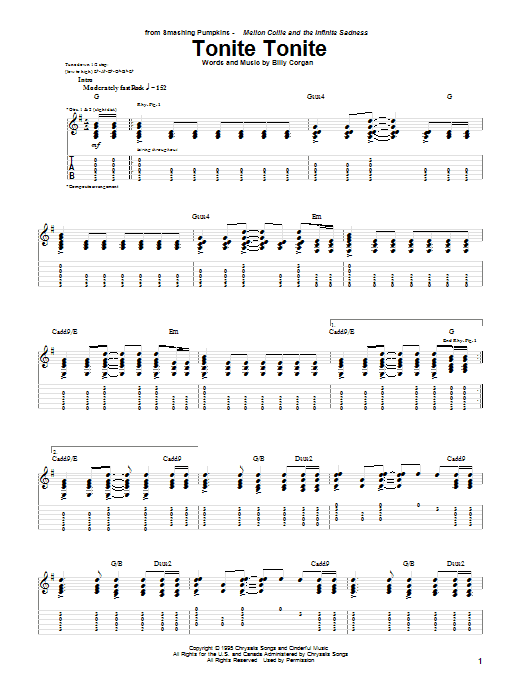 The Smashing Pumpkins Tonite Tonite sheet music notes printable PDF score