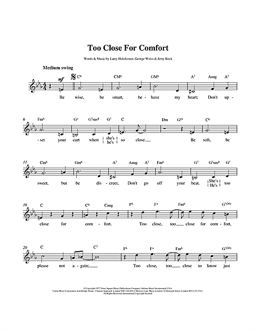 Larry Holofcener Too Close For Comfort sheet music notes printable PDF score
