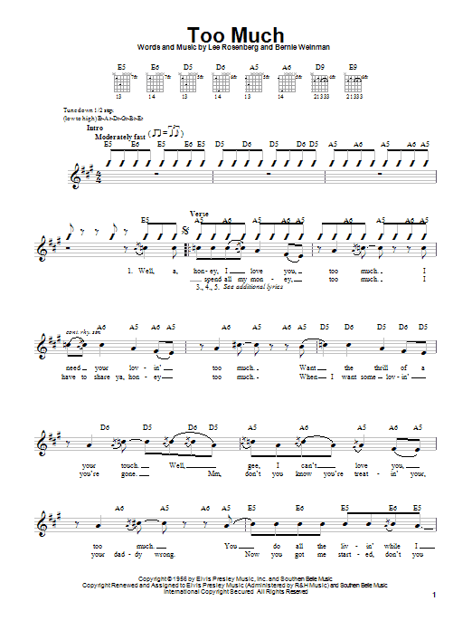 Elvis Presley Too Much sheet music notes printable PDF score