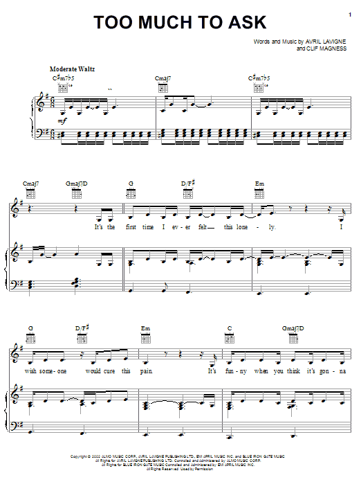 Avril Lavigne Too Much To Ask sheet music notes printable PDF score
