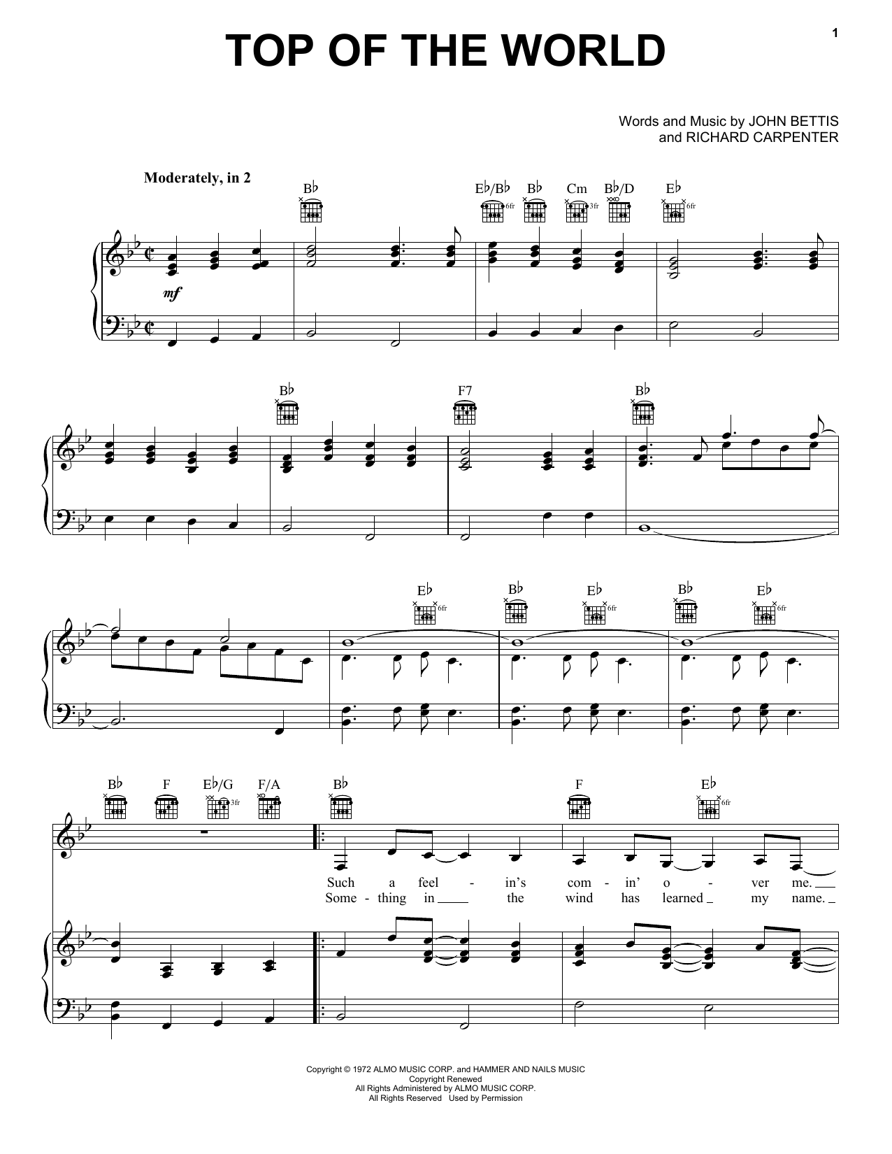 Carpenters Top Of The World sheet music notes printable PDF score