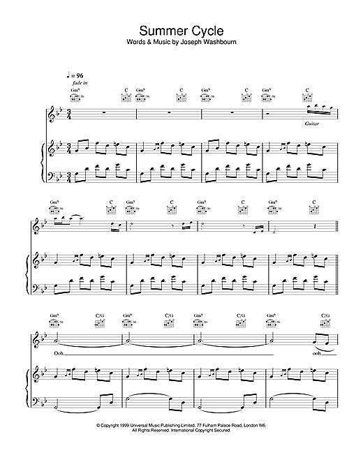 Toploader Summer Cycle sheet music notes printable PDF score