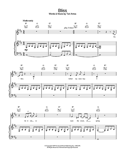 Tori Amos Bliss sheet music notes printable PDF score