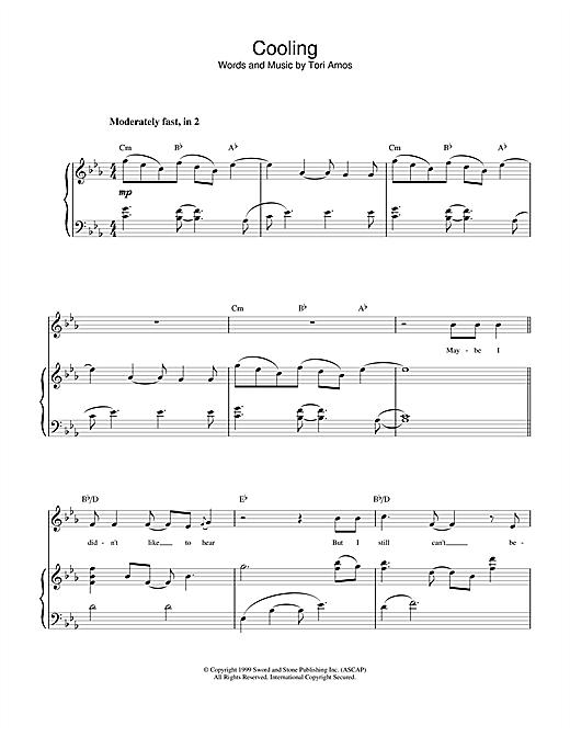 Tori Amos Cooling sheet music notes printable PDF score