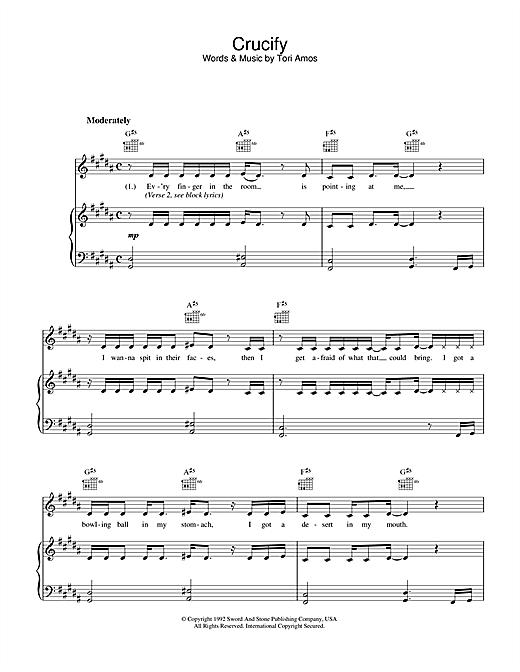 Tori Amos Crucify sheet music notes printable PDF score