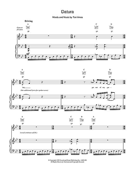 Tori Amos Datura sheet music notes printable PDF score