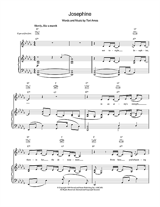 Tori Amos Josephine sheet music notes printable PDF score