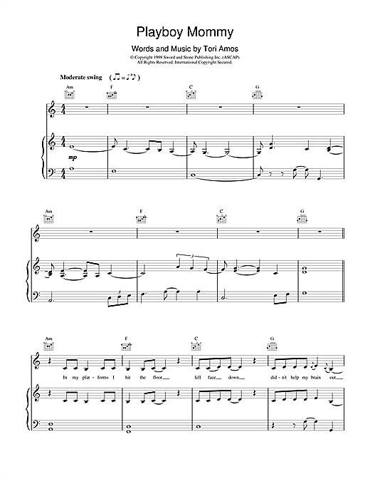 Tori Amos Playboy Mommy sheet music notes printable PDF score