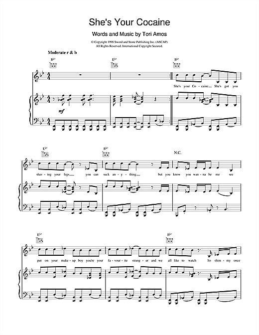 Tori Amos She's Your Cocaine sheet music notes printable PDF score