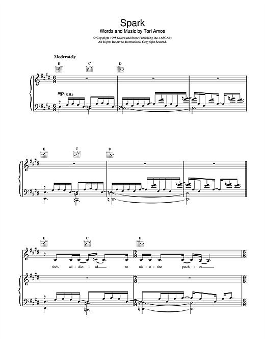 Tori Amos Spark sheet music notes printable PDF score