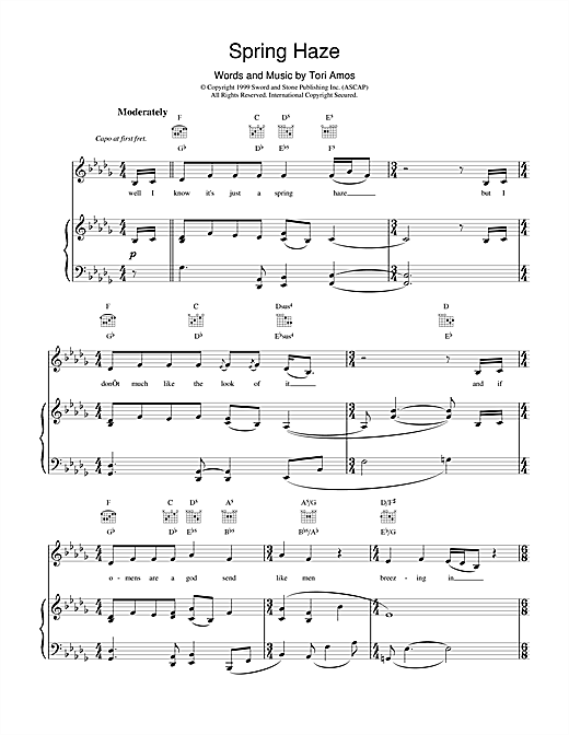 Tori Amos Spring Haze sheet music notes printable PDF score