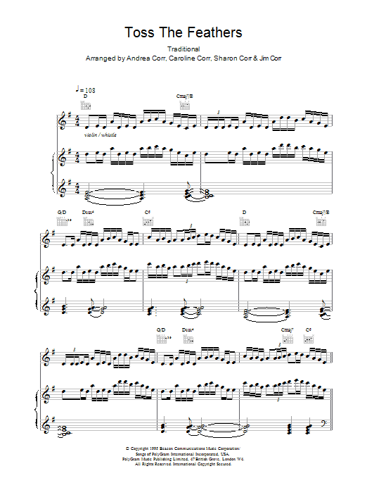 The Corrs Toss The Feathers sheet music notes printable PDF score