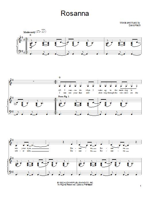 Toto Rosanna sheet music notes and chords. Download Printable PDF.