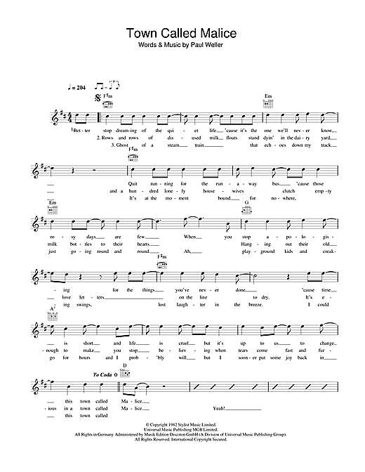 The Jam Town Called Malice sheet music notes printable PDF score
