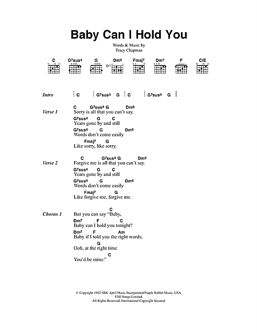 Tracy Chapman Baby Can I Hold You sheet music notes and chords. Download Printable PDF.