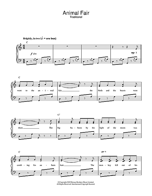 Traditional Animal Fair sheet music notes and chords - download printable PDF.