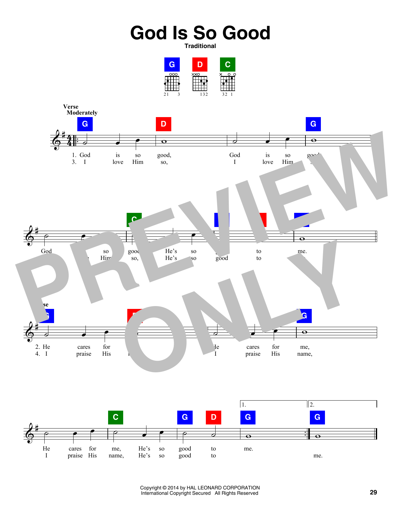 Traditional God Is So Good sheet music notes and chords. Download Printable PDF.