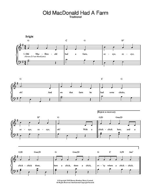 Traditional Old Macdonald Had A Farm sheet music notes and chords. Download Printable PDF.