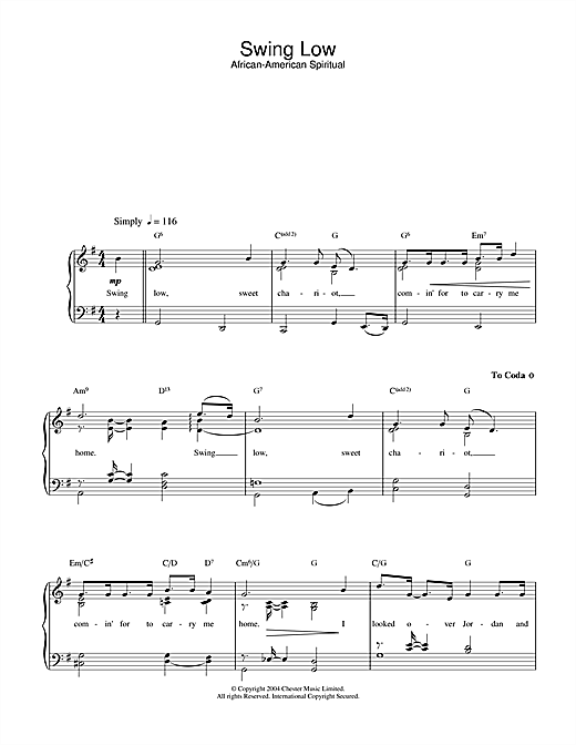 Traditional Swing Low, Sweet Chariot sheet music notes and chords. Download Printable PDF.