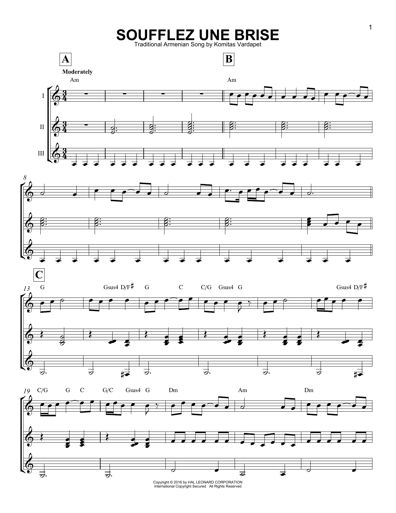 Traditional Armenian Song Soufflez Une Brise sheet music notes and chords - download printable PDF.