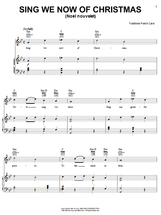 Traditional Carol Sing We Now Of Christmas sheet music notes and chords. Download Printable PDF.