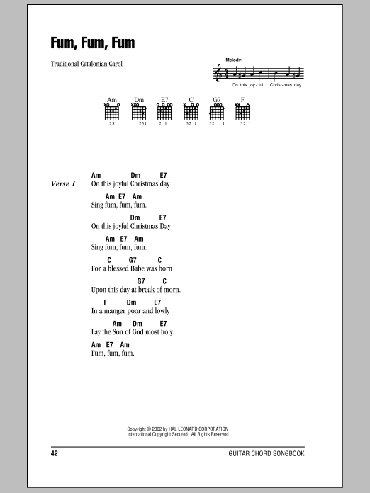 Traditional Catalonian Carol Fum, Fum, Fum sheet music notes and chords. Download Printable PDF.