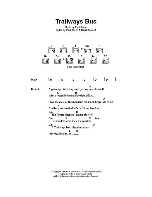 Paul Simon Trailways Bus sheet music notes printable PDF score