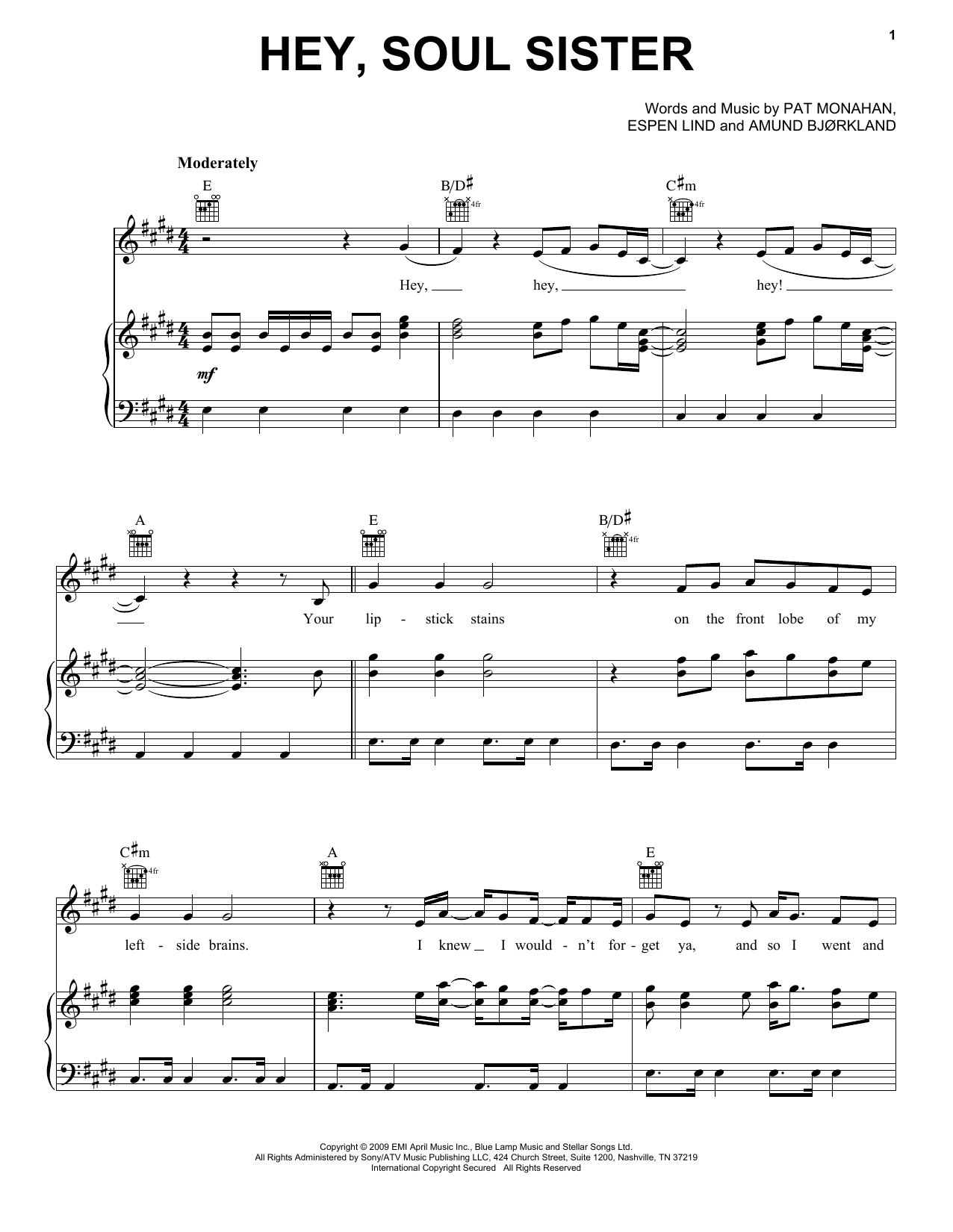 Train Hey, Soul Sister sheet music notes and chords. Download Printable PDF.