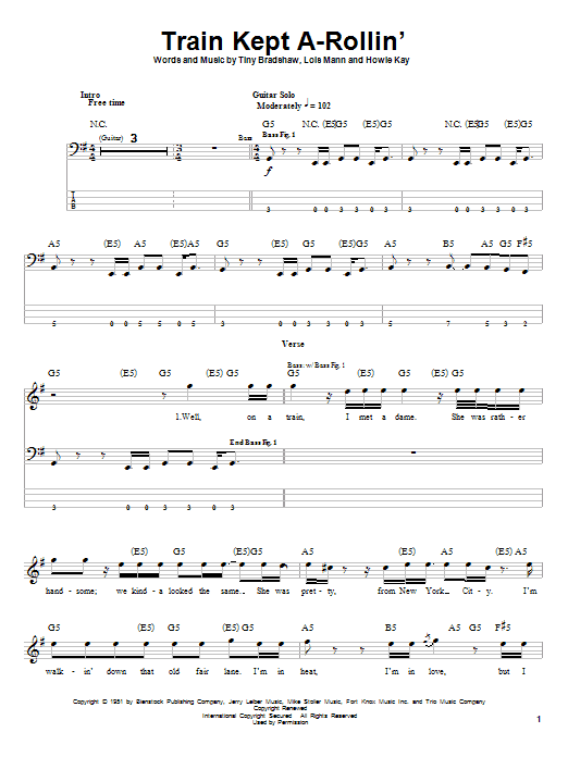 Aerosmith Train Kept A-Rollin' sheet music notes printable PDF score