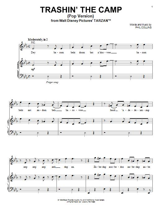 Phil Collins Trashin' The Camp (Pop Version) sheet music notes printable PDF score