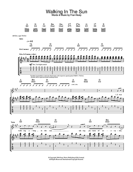 Travis Walking In The Sun sheet music notes printable PDF score