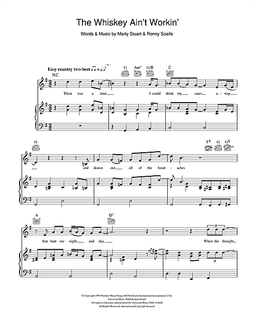 Travis Tritt The Whiskey Ain't Workin' sheet music notes and chords. Download Printable PDF.