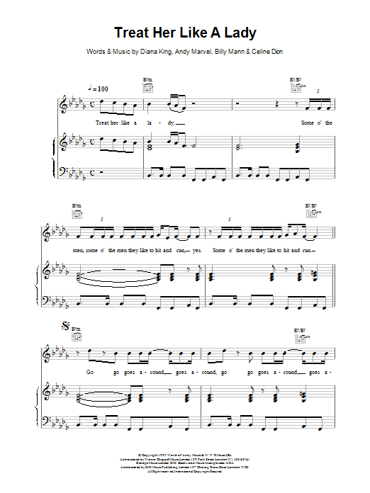 Celine Dion Treat Her Like a Lady sheet music notes printable PDF score