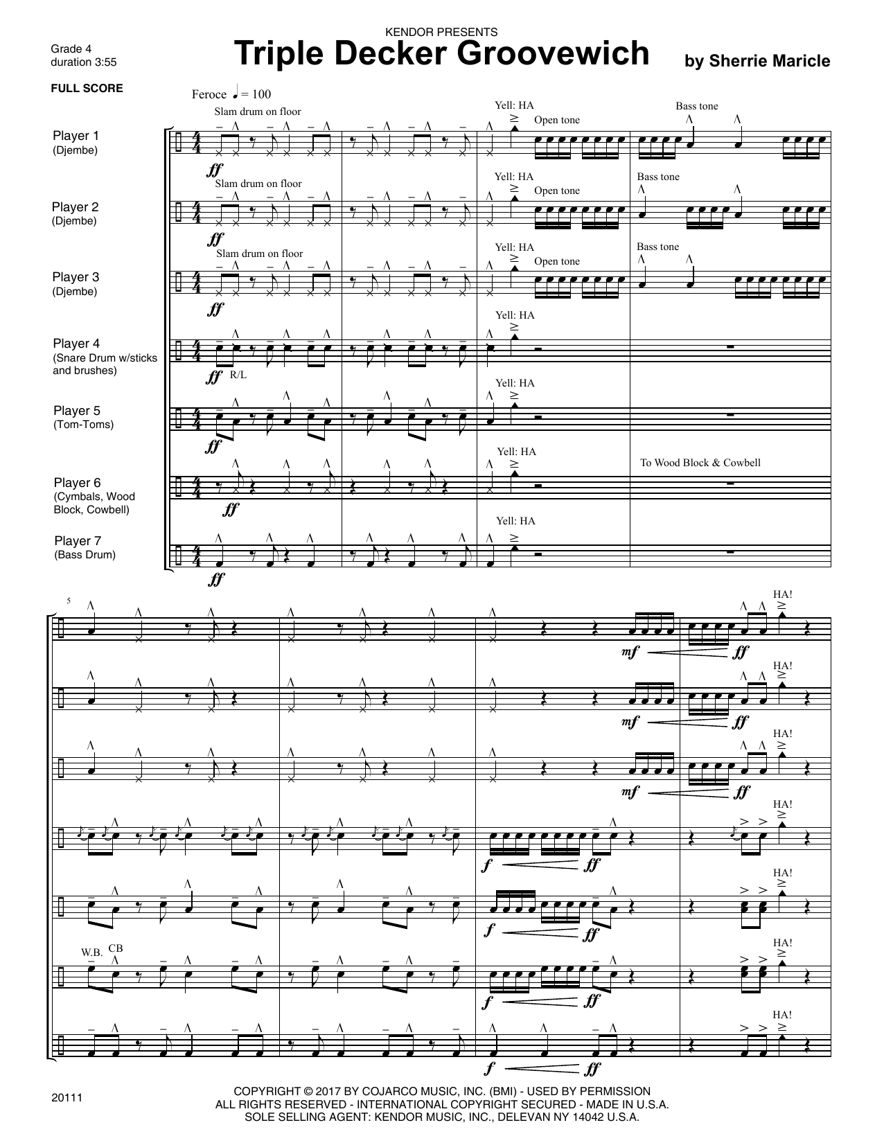Sherrie Maricle Triple Decker Groovewich - Full Score sheet music notes printable PDF score