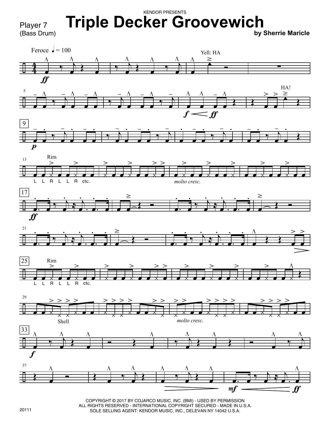Sherrie Maricle Triple Decker Groovewich - Percussion 7 sheet music notes printable PDF score