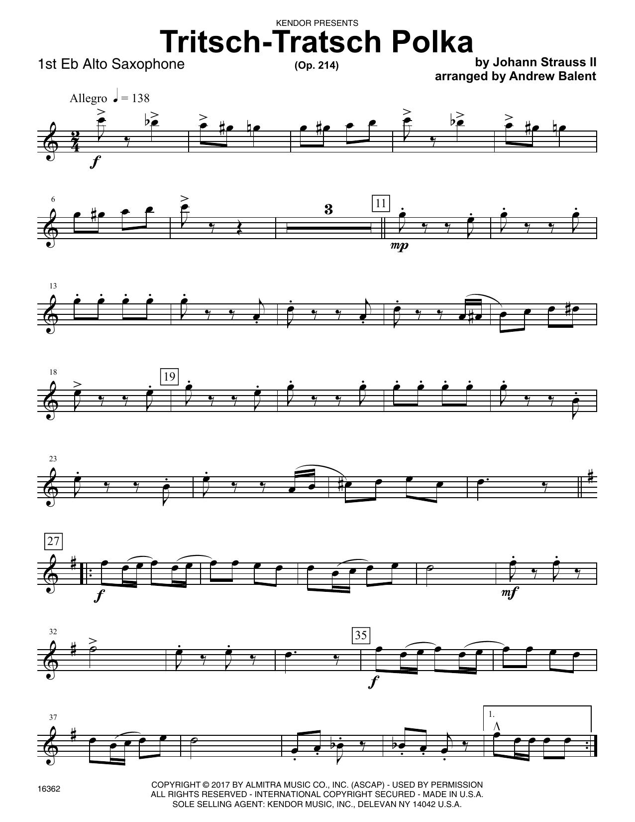 Andrew Balent Tritsch-Tratsch Polka (Op. 214) - 1st Eb Alto Saxophone sheet music notes printable PDF score